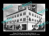 OLD LARGE HISTORIC PHOTO OF TAMPA FLORIDA, VIEW OF THE UNION BUS STATION c1930
