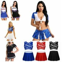 Women Cheerleader Costume Schoolgirl Outfit Mini Fancy Dress Skirt Sexy Uniform