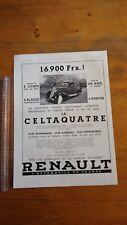 PUBLICITE ANCIENNE - PUB ADVERT 1934 RENAULT CELTAQUATRE DOS GIBBS