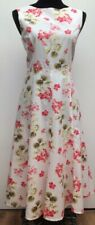 Laura Ashley White Red Green Fit Flare Floral Cotton Summer Midi Tea Dress 12/14
