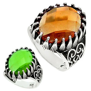 Wholesale Offer 925 Silver Green Alexandrite (lab) Mens Ring Size 9.5 C11239