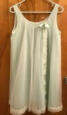 Elegant Shadowline Vintage Pale Seafoam Green Sheer 2-layers Nightgown Small