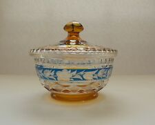Bohemian White To Amber Cased Glass Covered Dish For Sale Pottery & Glass
