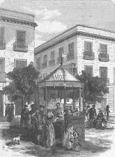 SPAIN. Kiosk for sale of Bibles, Seville, antique print, 1869