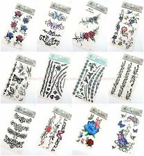 12 sheets temporary tattoo rose butterfly jewelry forearm ribs lower back