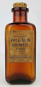 Antique National Drug Co Philadelphia, PA Potassium Chlorate Glass Bottle Empty