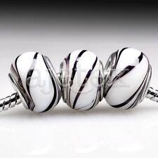 5pcs Murano Glass Round Beads Lampwork For European Bracelet Chain LB0063