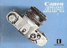1980s Canon Av-1 Slr 35mm Camera Owners Instruction Manual -Canon Av1