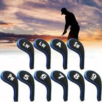 10Pcs Golf Clubs Head Covers Set Headcovers With Zipper Protector Neck Long J9O7