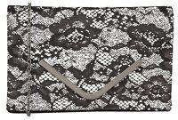 Ladies Formal / Casual Clutch Handbag Lotus Epona Black / White Textile