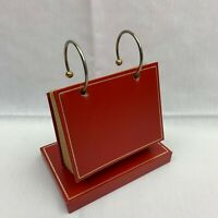 Vintage Mid Century 3x5 Leatherlines Red Leather Photo Flip / Recipe Holder