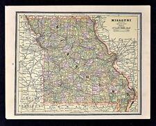 1891 Cram Map - Missouri  St. Louis Jefferson City Springfield Hannibal Columbia