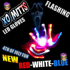 XBone RED WHITE BLUE LED Gloves Rave Phat Pants Cyber Punk Clothing Wear WOW