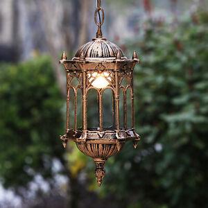 Antik Hängeleuchte Laterne Pendellampe Gartenlampen Licht Kronleuchter Außen DHL