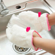 1pcs kitchen cleaning dish washing up scrubber glove bamboo fiber waterproof JR