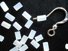 50 SOFT CLEAR RUBBER EARRING BACK TUBE STOPPERS 3mm