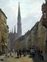 Free shipping Oil painting cityscape with people carriage in the street & church