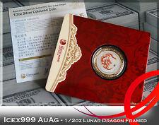 1/2oz Australian Perth Mint 2012 Lunar Dragon Coloured Silver Coin Framed