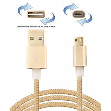 Double Sided Micro USB Cable Reversible Plugable Braided Data Sync Charger Cord