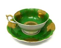 CHUGAI China TEACUP and SAUCER White, Green, Gold VINTAGE Occupied Japan