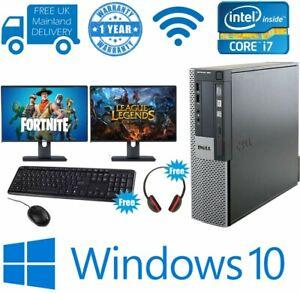 ULTRA FAST Dell Gaming PC Computer Desktop Bundle i7 8GB 1TB DUAL MONITORS