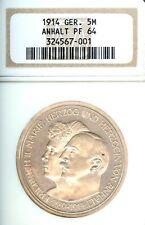 Allemand États Anhalt-Dessau 1914 5 Mark Pièce de Monnaie Thaler Taler NGC Pf 64