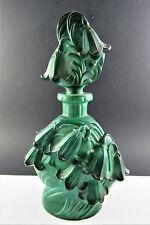 Bohemian Czech Curt Schlevogt Ingrid Jade Malachite Glass Perfume Bottle (W5-5)
