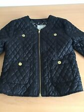 Next Girls Black Quilted Jacket Size 7-8 Zip Front 4 Pockets