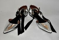 Proenza Schouler Silver Metallic Eyelets Ankle Bow Flat Sandals Shoes Size 40
