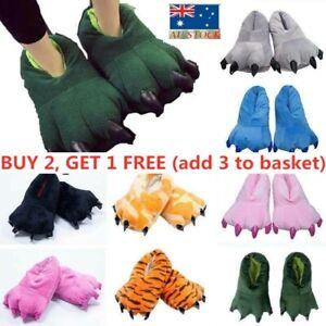 3D Animal Monster Dinosaur Feet Slippers Novelty Adults Kids Home Shoes Sliders