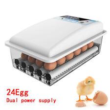 24 Eggs Incubator Chicken Duck Egg Quail Goose Hatcher Fully Auto-turning 110V
