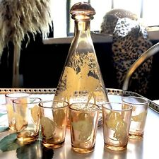 Mid century 50s peach/pink glass foxhunting decanter and 6 shot glasses vintage