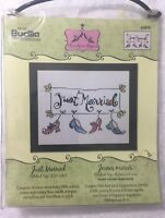 JUST MARRIED counted cross stitch kit P Bucilla Anne Higgins Wedding Gift NEW