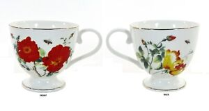 Grace's Teaware WILD ROSE & BEE 14oz Footed Cup Mug Red Yellow Flowers Floral