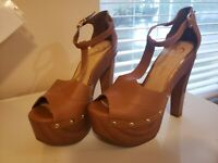 Jessica Simpson Dany Platform Sandal - T-Strap Block Heel - 9M/39 - Pre-owned