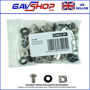 20 Pack of M6 Flight Case Panel Network Rack Fixing Kit Screws Cage Nuts Washers