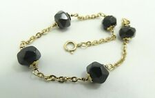 """14K Yellow Gold 9.8mm Abstract Faceted Black Onyx Rolo Chain Bracelet 7"""" D7630"""