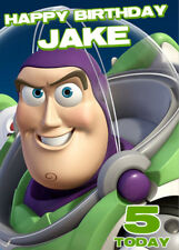 Buzz Lightyear (Toy Story) Personalised Birthday Card Add your own name & age
