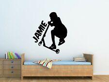 Personalised Kids Jumping Scooter Wall Art Vinyl Sticker Boys Bedroom Decor