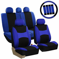 Car Seat Covers Front Rear Full Set for Auto SUV Truck Blue - 13 Piece Set