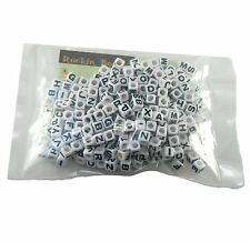 "300 Mixed Black on White Acrylic Alphabet /Letter ""A-z"" Cube Spacer Beads 7mm"