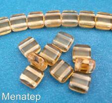 25 6x6x3mm CzechMates Two Hole Tile Beads: Topaz