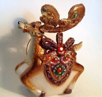 Large Jeweled Reindeer Blown Glass Christmas Ornament - Pre-Owned - Original Box