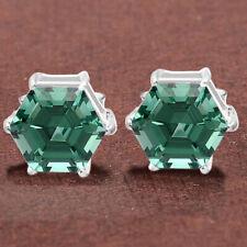 Green Tourmaline Stud 925 Sterling Silver Earrings Jewelry 8160