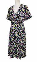 Vicky Tiel Wrap Dress Black Floral Short Sleeve Stretch Jersey Knit Size 1X