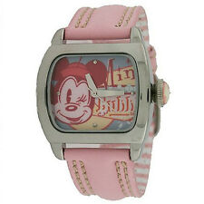 DISNEY Mini Mouse Goes Retro Fashion Teen  SQUARE ON PINK LEATHER BAND NEW