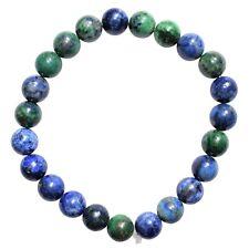 CHARGED Natural Lapis Crystal 8mm Bead Bracelet Simulated Azurite Malachite