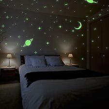 Glow Meteor Rain Moon & Stars Wall Sticker Combo Pack Home Deco Interior Kids