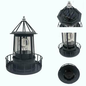 Solar LED Leuchtturm Licht Rotierenden Strahl Sensor Lampe Outdoor Garten K5F1