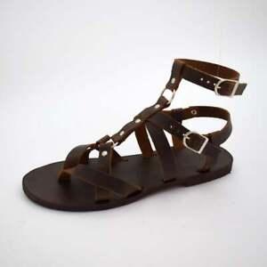 Gladiator Roman Grecian Spartan Mens Brown Spartacus Halloween sandals